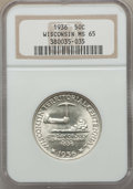 Commemorative Silver, 1936 50C Wisconsin MS65 NGC. NGC Census: (1357/1636). PCGS Population: (2317/2232). CDN: $200 Whsle. Bid for problem-free N...