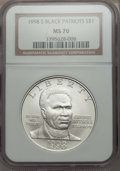 Modern Issues, 1998-S $1 Black Patriots Silver Dollar MS70 NGC. NGC Census: (324). PCGS Population: (266)....