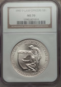 Modern Issues, 1997-P $1 Law Enforcement Silver Dollar MS70 NGC. NGC Census: (265). PCGS Population: (208)....