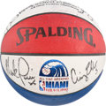 Basketball Collectibles:Balls, 1990 NBA 3-Point Contest Basketball Signed by 8 with Jordan &Bird....