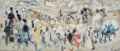 Fine Art - Painting, European, Alexandre Garbell (French, 1903-2003). Amongst the Crowd.Oil on canvas. 8-1/2 x 19 inches (21.6 x 48.3 cm). Signed lowe...