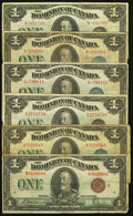 Canadian Currency: , Canada $1 1923 Notes.. ... (Total: 6 notes)