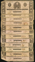 Confederate Notes:1862 Issues, T52 $10 1862 Twelve Examples.. ... (Total: 12 notes)