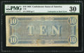Confederate Notes:1864 Issues, Underprint on Back Error T68 $10 1864 PF-21 Cr. 547.. ...