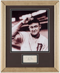 Autographs:Index Cards, Ty Cobb Signed Cut Signature Display Piece. ...