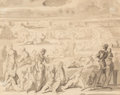 Works on Paper, Reginald Marsh (American, 1898-1954). Crowd. Ink wash on paper. 8 x 10 inches (20.3 x 25.4 cm) (sight). ...