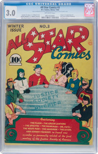 All Star Comics #3 (DC, 1940) CGC GD/VG 3.0 Off-white pages