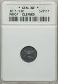 Proof Three Cent Silver: , 1873 3CS -- Cleaned -- ANACS. Genuine, Proof. NGC Census: (1/301). PCGS Population: (9/427). CDN: $1,200 Whsle. Bid for pro...