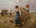 19th Century European, Julien Jos (19th Century). Harvest Days. Oil on canvas laidon board. 13-3/4 x 17-3/4 inches (34.9 x 45.1 cm). Signed lo...