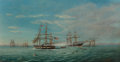 Paintings, American School (19th Century). The U.S.S. Kearsarge Versus the C.S.S. Alabama. Oil on canvas. 20-1/2 x 38-1/2 inches (5...