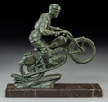 Bronze:European, A Patinated Bronze Motorcyclist after Jaques Limousin with a FramedMotoring Advertisement. Marks: Limousin. 10-1/2 h x ...(Total: 2 Items)