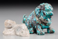 Asian:Chinese, A Chinese Carved Turquoise Foo Lion with Carved Rock CrystalChilong. 2-5/8 inches high (6.7 cm) (taller, foo lion). ... (Total:2 Items)