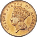 Three Dollar Gold Pieces, 1870 $3 MS64 PCGS....
