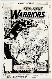 Mark Bagley and Larry Mahlstedt New Warriors #15 Cover Original Art (Marvel, 1991)
