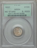 Seated Half Dimes, 1837 H10C No Stars, Large Date (Curl Top 1) MS64 PCGS. PCGS Population: (159/97). NGC Census: (236/205). CDN: $1,100 Whsle....
