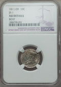 Bust Dimes, 1811/09 10C JR-1, R.3, -- Bent -- NGC Details. AU. NGC Census:(2/27). PCGS Population: (0/1). CDN: $560 Whsle. Bid for pro...
