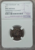 Bust Dimes, 1820 10C STATESOF, JR-1, R.4, -- Improperly Cleaned -- NGC Details.Unc. NGC Census: (0/6). PCGS Population: (0/1). CDN: $1...