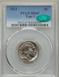 Buffalo Nickels, 1913 5C Type One MS67 PCGS. CAC. PCGS Population: (538/19). NGCCensus: (290/10). CDN: $825 Whsle. Bid for problem-free NGC...