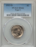 Buffalo Nickels, 1913-D 5C Type One MS66 PCGS. PCGS Population: (434/74). NGCCensus: (173/17). CDN: $550 Whsle. Bid for problem-free NGC/PC...