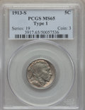 Buffalo Nickels, 1913-S 5C Type One MS65 PCGS. PCGS Population: (362/190). NGCCensus: (220/70). CDN: $650 Whsle. Bid for problem-free NGC/P...