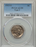 Buffalo Nickels, 1913-S 5C Type Two AU55 PCGS. PCGS Population: (224/1613). NGCCensus: (99/1000). Mintage 1,209,000. ...