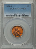 Lincoln Cents: , 1954-S 1C MS67+ Red PCGS. PCGS Population: (276/0 and 21/0+). NGC Census: (794/0 and 1/0+). Mintage 96,190,000. ...