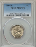 Jefferson Nickels, 1942-S 5C MS67 Full Steps PCGS. PCGS Population: (45/0). NGC Census: (21/0). ...