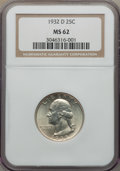 Washington Quarters, 1932-D 25C MS62 NGC. NGC Census: (387/490). PCGS Population:(541/1483). Mintage 436,800. ...