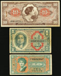 Military Payment Certificates:Series 641, Series 641 $10 VF, rust and small holes;. Series 611 $1 Fine,graffiti on the face and once mounted with two pieces of tape;. ...(Total: 3 notes)