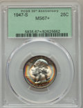 Washington Quarters, 1947-S 25C MS67+ PCGS. PCGS Population: (223/3 and 31/0+). NGCCensus: (638/3 and 5/0+). CDN: $250 Whsle. Bid for problem-f...