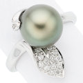 Estate Jewelry:Rings, South Sea Cultured Pearl, Diamond, White Gold Ring . ...