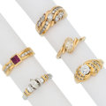 Estate Jewelry:Rings, Diamond, Multi-Stone, Platinum, Gold Rings . ... (Total: 5 Items)