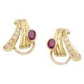 Estate Jewelry:Earrings, Ruby, Diamond, Gold Earrings, H. Stern . ...