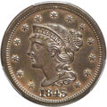 Proof Large Cents, 1845 1C N-14, High R.6, PR62 Brown PCGS....