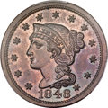 Proof Large Cents, 1848 1C N-19, R.6, PR64 Red and Brown PCGS Secure. CAC....