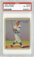 Baseball Cards:Singles (1930-1939), 1933 Goudey Chuck Klein #128 PSA VG-EX 4. Gorgeous color and cleansurfaces make this Hall of Fame card a real looker. Lig...