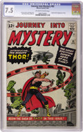 "Silver Age (1956-1969):Superhero, Journey Into Mystery #83 (Marvel, 1962) CGC VF- 7.5 Off-white towhite pages. If you look at the ""first appearance"" Marvels,..."