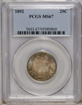 Barber Quarters: , 1892 25C MS67 PCGS. Type One Reverse. FS-25-1892-801; TripledReverse Die. A late die state with die chips nearly filling t...