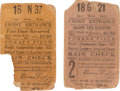 Baseball Collectibles:Tickets, 1925 World Series (Game 2) Ticket Stubs Lot of 2....