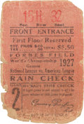 Baseball Collectibles:Tickets, 1927 World Series (Game 2) Ticket Stub....