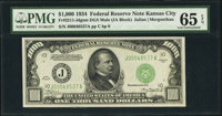 Fr. 2211-J $1,000 1934 Mule Federal Reserve Note. PMG Gem Uncirculated 65 EPQ