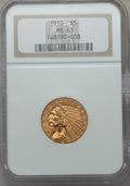 Indian Half Eagles: , 1910 $5 MS63 NGC. NGC Census: (998/337). PCGS Population:(651/273). CDN: $750 Whsle. Bid for problem-free NGC/PCGS MS63.M...