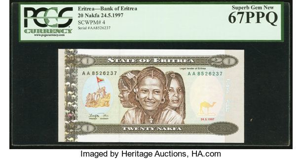 World Currency Eritrea Bank Of 20 Nakfa 24 5 1997 Pick 4