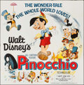 "Movie Posters:Animation, Pinocchio (Buena Vista, R-1962). Six Sheet (85"" X 84""). Animation....."
