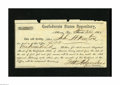Confederate Notes:Group Lots, 1864 Confederate States Depository Form. This form was printed byJ.T. Paterson and filled out for $100. There are missing e...