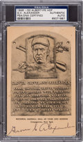 Baseball Collectibles:Others, 1950 Grover Cleveland Alexander Double-Signed Hall of Fame Plaque,PSA/DNA Authentic....