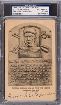 1950 Grover Cleveland Alexander Double-Signed Hall of Fame Plaque, PSA/DNA Authentic