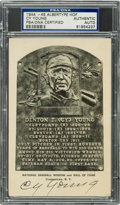 Baseball Collectibles:Others, 1944-46 Cy Young Signed Signed Albertype Hall of Fame Postcard. ...
