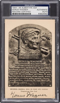 Baseball Collectibles:Others, 1944-45 Honus Wagner Signed Albertype Hall of Fame Plaque Postcard PSA/DNA Authentic....