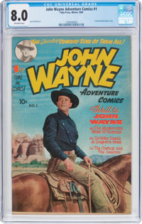 John Wayne Adventure Comics #1 (Toby Publishing, 1949) CGC VF 8.0 Off-white pages